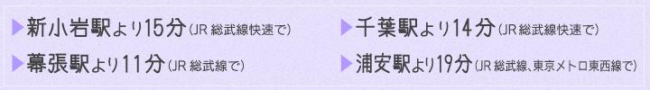 新小岩駅より15分(JR総武線快速で)千葉駅より14分(JR総武線快速で)幕張駅より11分(JR総武線で)浦安駅より19分(JR総武線、東京メトロ東西線で)