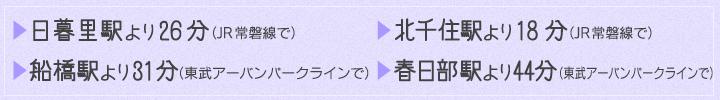 日暮里駅より26分(JR常磐線で)北千住駅より18分(JR常磐線で)船橋駅より31分(東武アーバンパークラインで)春日部駅より44分(東武アーバンパークラインで)