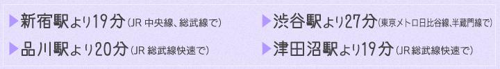 新宿駅より19分(JR中央線、総武線で)渋谷駅より27分(東京メトロ日比谷線、半蔵門線で)品川駅より20分(JR総武線快速で)津田沼駅より19分(JR総武線快速で)